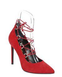 Saint Laurent - Red 105mm Paris Skinny Lace-up Suede Pumps - Lyst