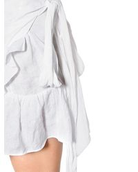 Étoile Isabel Marant White Linen Ruffled Wrap Dress