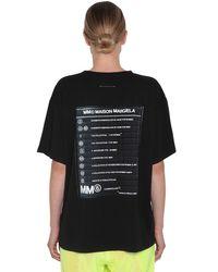 T-Shirt In Jersey Di Cotone Con Stampa di MM6 by Maison Martin Margiela in Black