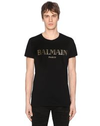 Balmain | Black Printed Cotton Jersey T-shirt for Men | Lyst