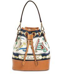 Etro Marina キャンバス&レザーバケットバッグ Multicolor