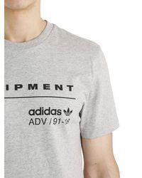 Adidas Originals Gray Eqt Logo Cotton Jersey T-shirt for men