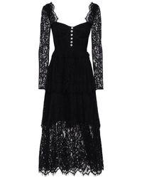 Платье Миди Из Хлопкового Кружева Self-Portrait, цвет: Black