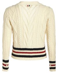 Кардиган Из Шерсти Aran Thom Browne для него, цвет: White