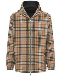 メンズ Burberry フーデッドジップジャケット Multicolor