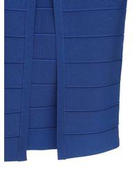 Hervé Léger Blue Langes Kleid Aus Stretch-jersey