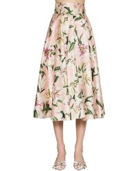 Dolce & Gabbana シャンタン ハイウェストミディスカート Natural