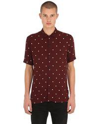 AllSaints Red Kuta Printed Polka Dot Shirt for men