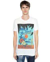 Camiseta De Jersey De Algodón Estampada DSquared² de hombre de color White