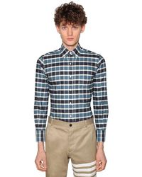 Thom Browne Blue Check Cotton Oxford Shirt for men