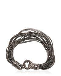 Emanuele Bicocchi - Metallic Multi Chain Bracelet With Skull Detail - Lyst