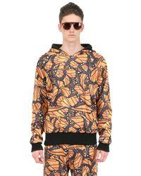Der Metropol Orange Hooded Butterfly Print Techno Sweatshirt for men