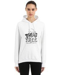 "Andrea Crews White Kapuzensweatshirt ""pablo Cots Drug Free"""