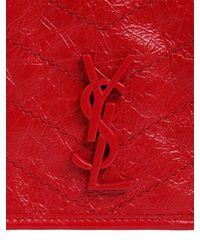 """Bolso Billetera """"Niki"""" De Piel Vintage Y Cadena Saint Laurent de color Red"""