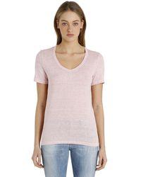 Étoile Isabel Marant Pink V-neck Linen T-shirt
