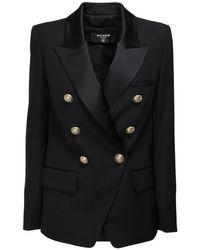 Balmain オーバーサイズウールブレンドジャケット Black