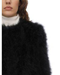 Cappotto In Piume Con Maniche Cropped di Yves Salomon in Black