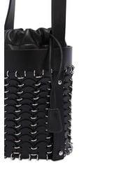 Paco Rabanne - Black Mini Leather Disc Bucket Bag - Lyst