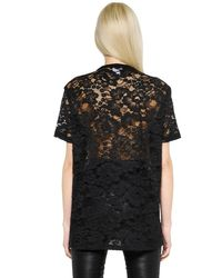 Givenchy Black Rubberized Patches On Viscose Lace Top