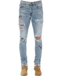 """Jeans """"Art Patch"""" In Denim Di Cotone 15Cm di Amiri in Blue da Uomo"""
