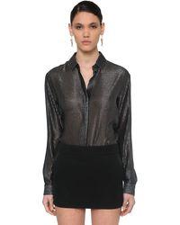 Saint Laurent ラメジャカードシャツ Black