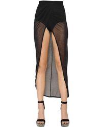 Balmain - Black Warp Effect Sheer Gauze Skirt - Lyst
