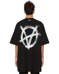 Vetements Oversized T-shirt Aus Baumwolljersey Mit Druck in Black für Herren
