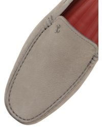 Tod's - Gray Gommino Tyre Nubuck Driving Shoes for Men - Lyst