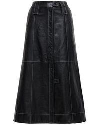 Ganni レザースカート Black