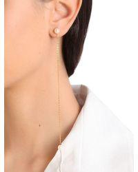 Saskia Diez Metallic Barbelle Pearl & Chain Mono Earring