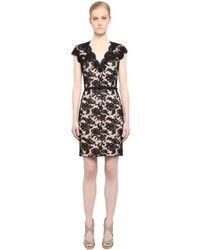 Reem Acra Black Kleid Aus Baumwolle Und Viskosespitze