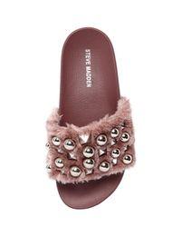 Steve Madden Pink 20mm Yeah Studded Faux Fur Slide Sandals