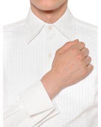 Thom Browne White Pleated Plastron Cotton Piqué Shirt for men
