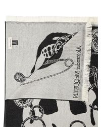 Alexander McQueen Chain Skull ウール ジャカードスカーフ Black