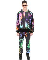 Der Metropol Black Hooded Fire Printed Techno Sweatshirt for men