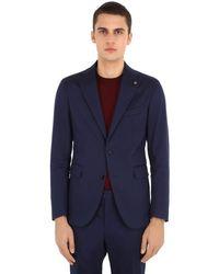 メンズ Tagliatore ストレッチコットンギャバジンスーツ Blue