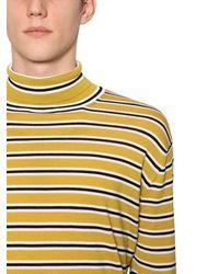 メンズ Marni ボーダー柄 ウールニットセーター Yellow
