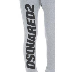 Pantalones Deportivos De Algodón Jersey Con Logo DSquared² de color Gray