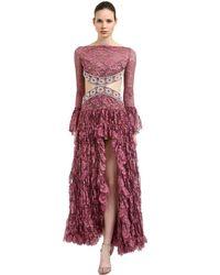 RAISA & VANESSA Red Ruffled Cutout Lace Dress