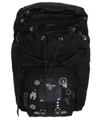 Prada Black Nylon Backpack W/ Leather Robot Patches for men