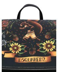 DSquared² Black Tattoo Printed Neoprene Backpack
