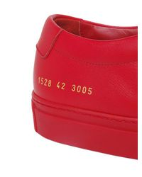 Common Projects Red Achilles Original Leather Low-Top Sneakers