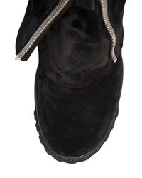 Casadei - Black 80mm Zipped Suede Wedged Boots - Lyst