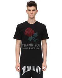 メンズ Chinatown Market ラインストーン コットンジャージーtシャツ Black