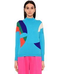 Delpozo - Blue Intarsia Wool Sweater - Lyst