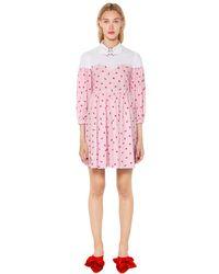 Vivetta Pink Heart Print Cotton Poplin Shirt Dress