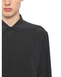 メンズ Saint Laurent Yves シルク マイクロポルカドットシャツ Black