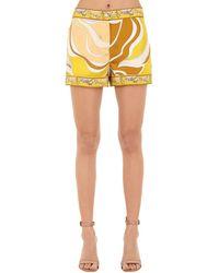 Emilio Pucci シルクツイル プリントショートパンツ Yellow