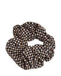 Ganni Black Scrunchie-haarband Aus Krepp Mit Druck