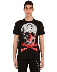 T-shirt In Jersey Di Cotone di Philipp Plein in Black da Uomo